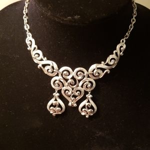 Trifari silver scroll bib  choker necklace